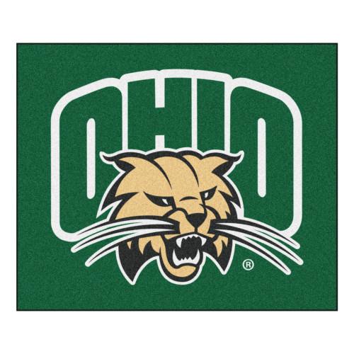 5' x 6' Green and Brown NCAA Ohio University Bobcats Rectangular Outdoor Area Rug - IMAGE 1