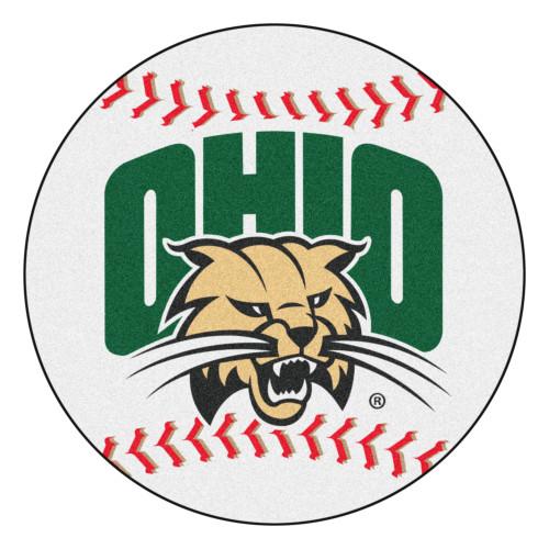 "27"" Green and White NCAA Ohio University Bobcats Baseball Round Area Rug - IMAGE 1"