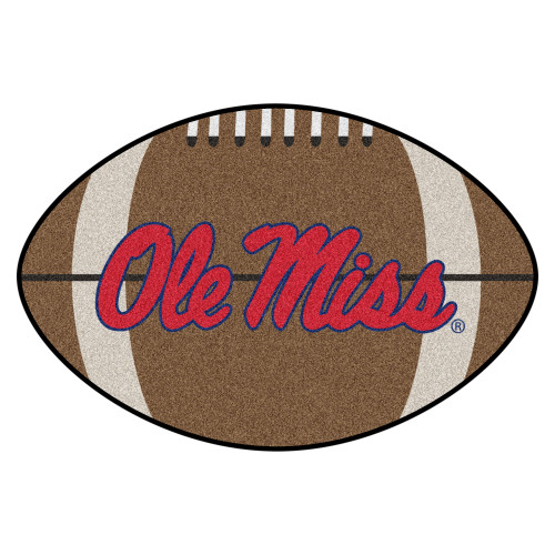 """20.5"""" x 32.5"""" Brown and Red NCAA University of Mississippi Rebels Football Shaped Door Mat - IMAGE 1"""