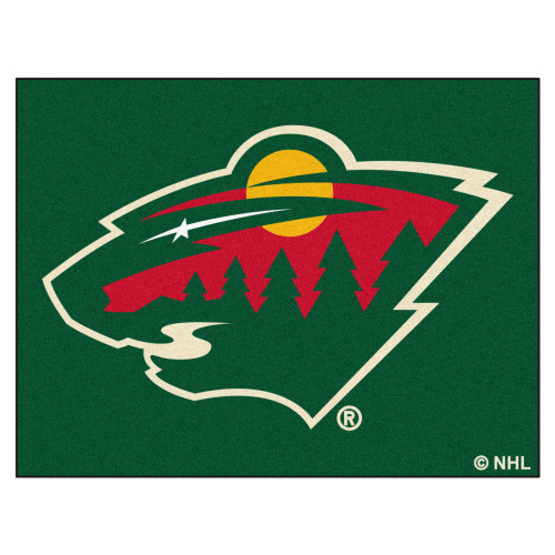 """33.75"""" x 42.5"""" Green and Red NHL Wild All Star Non-Skid Mat Rectangular Area Rug - IMAGE 1"""