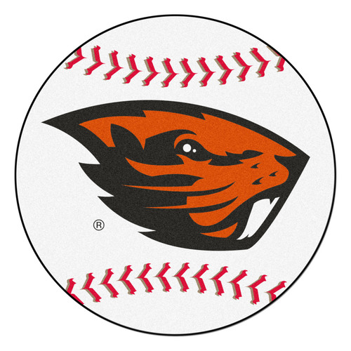 "27"" White and Orange NCAA Oregon State University Beavers Baseball Mat - IMAGE 1"
