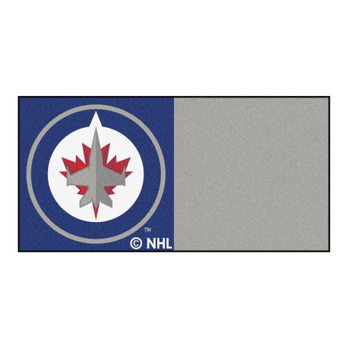 "20pc Gray and Blue NHL Winnipeg Jets Team Carpet Tile Flooring Squares 18"" x 18"" - IMAGE 1"