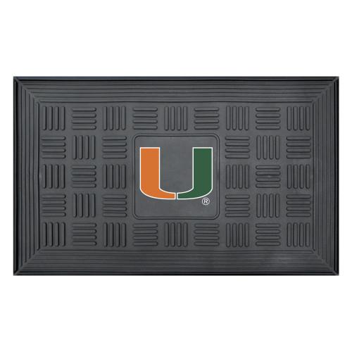 "19.5"" x 31.25"" Black and Orange NCAA University of Miami Hurricanes Medallion Outdoor Door Mat - IMAGE 1"