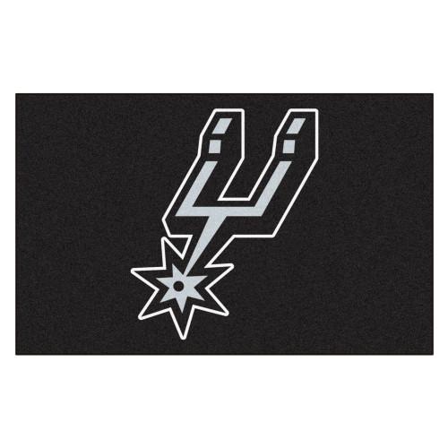 "59.5"" x 94.5"" Black and White NBA San Antonio Spurs Ulti-Mat Rectangular Outdoor Area Rug - IMAGE 1"