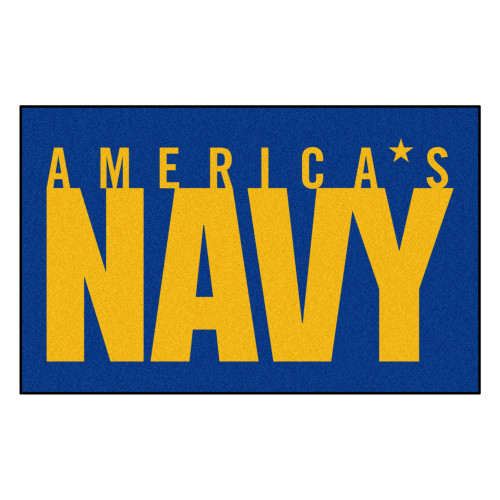 5' x 8' Blue and Yellow Contemporary U.S. Navy Rectangular Outdoor Area Rug - IMAGE 1