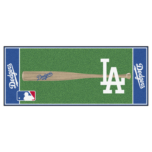 """30"""" x 72"""" Blue and Green MLB Los Angeles Dodgers Non-Skid Baseball Mat Area Rug Runner - IMAGE 1"""