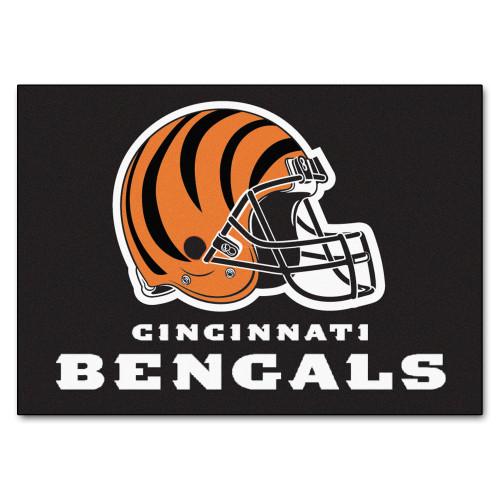 """33.75"""" x 42.5"""" Black and Orange NFL Cincinnati Bengals All Star Rectangular Door Mat - IMAGE 1"""