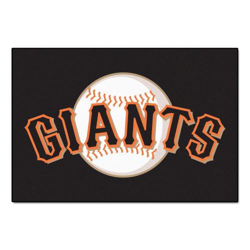 "19"" x 30"" Black and White MLB San Francisco Giants Starter Mat - IMAGE 1"