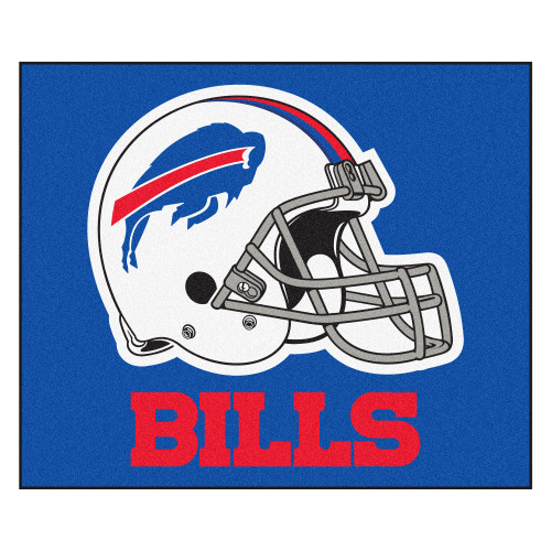 """59.5"""" x 71"""" Blue and White NFL Buffalo Bills Tailgater Mat Rectangular Outdoor Area Rug - IMAGE 1"""