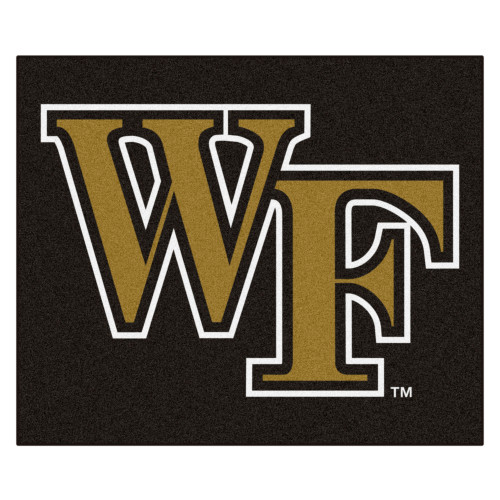 """59.5"""" x 71"""" Black and Brown NCAA Wake Forest University Demon Deacons Tailgater Area Rug - IMAGE 1"""