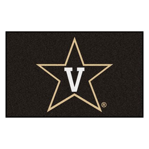 5' x 8' Black and White NCAA Vanderbilt University Commodores Rectangular Outdoor Area Rug - IMAGE 1
