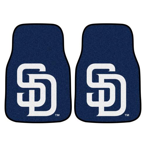 "Set of 2 Blue MLB San Diego Padres Front Carpet Car Mats 17"" x 27"" - IMAGE 1"