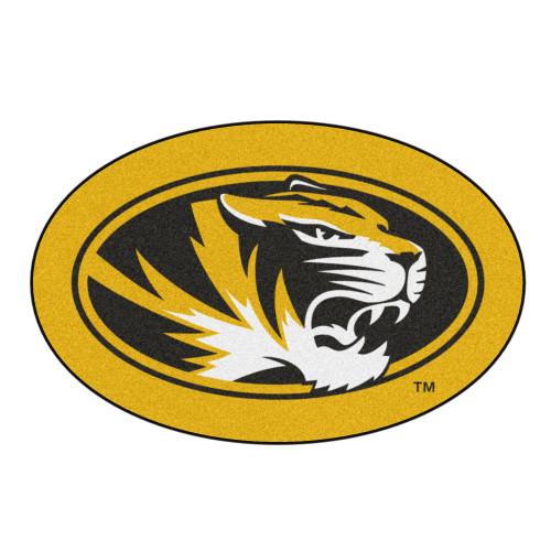 "40"" x 30"" Yellow and Black NCAA University of Missouri Tigers Mascot Logo Shaped Door Mat - IMAGE 1"