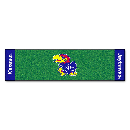 "18"" x 72"" Green and Blue NCAA University of Kansas Jayhawks Golf Putting Mat - IMAGE 1"