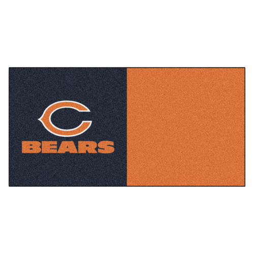 "20pc Navy Blue and Orange NFL Chicago Bears Team Carpet Tile Set 18"" x 18"" - IMAGE 1"