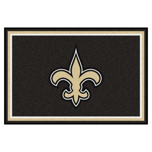 4.9' x 7.3' Black NFL New Orleans Saints Ultra Plush Rectangular Area Rug - IMAGE 1