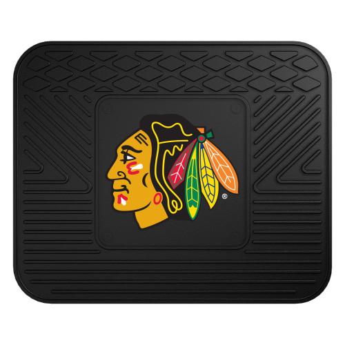 "14"" x 17"" Black and Yellow NHL Chicago Blackhawks Rear Car Seat Utility Mat - IMAGE 1"