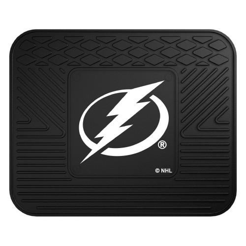 """14"""" x 17"""" Black and White NHL Tampa Bay Lightning Rear Car Seat Utility Mat - IMAGE 1"""