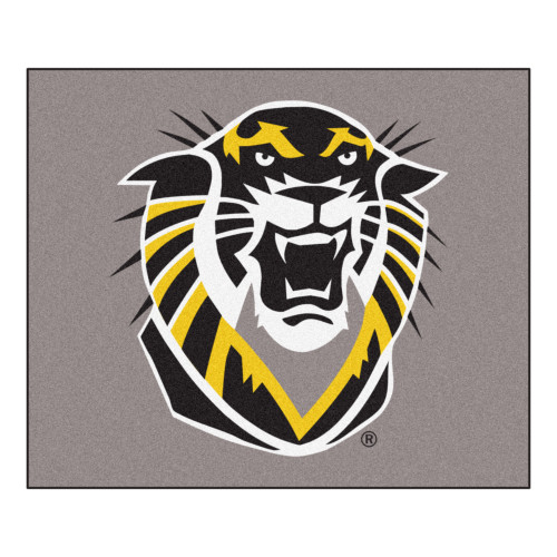 """59.5"""" x 71"""" Gray and Black NCAA Fort Hays State University Tigers Tailgater Mat Rectangular Area Rug - IMAGE 1"""