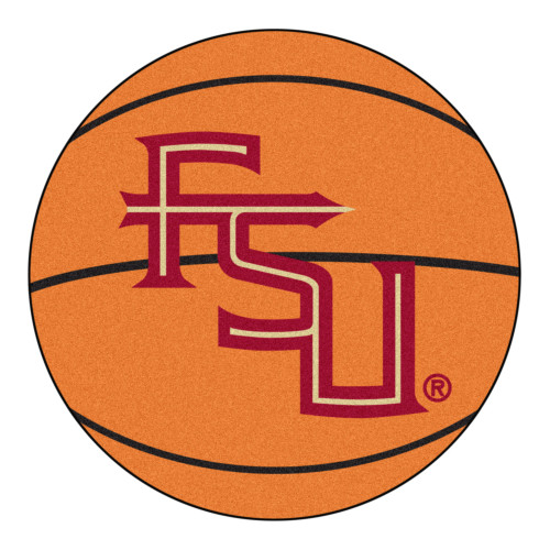 """27"""" Red and Brown NCAA Florida State University Seminoles Basketball Mat Round Area Rug - IMAGE 1"""