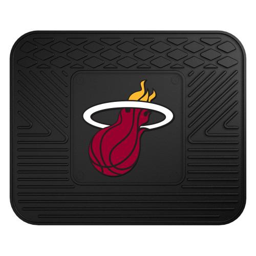"14"" x 17"" Black and Red NBA Miami Heat Heavy Duty Rear Car Seat Utility Mat - IMAGE 1"