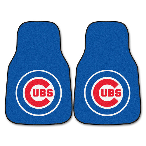 """Set of 2 Blue and Red MLB Chicago Cubs Carpet Car Mats 17"""" x 27"""" - IMAGE 1"""