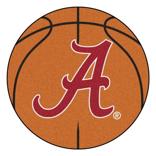 "27"" Brown and Red NCAA University of Alabama Crimson Tide Basketball Shaped Door Mat - IMAGE 1"