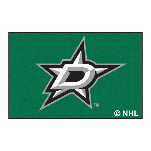 "19"" x 30"" Green and Black NHL Dallas Stars Starter Mat Rectangular Area Rug - IMAGE 1"