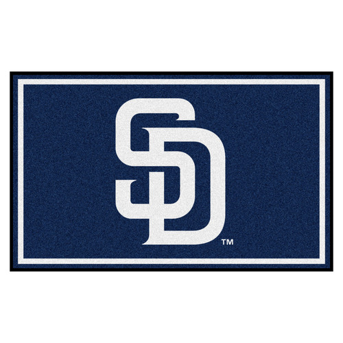 3.6' x 5.9' Blue and White MLB San Diego Padres Plush Area Rug - IMAGE 1