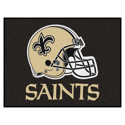 "33.75"" x 42.5"" Black and Beige NFL New Orleans Saints Rectangular Mat - IMAGE 1"