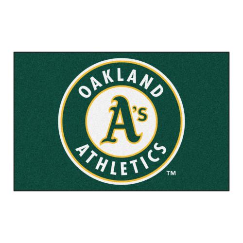 "Green and White MLB Oakland Athletics Rectangular Starter Door Mat 19"" x 30"" - IMAGE 1"