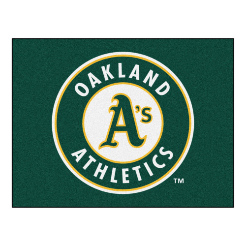 """33.75"""" x 42.5"""" Green and White MLB Oakland Athletics Rectangular All-Star Mat Outdoor Area Rug - IMAGE 1"""