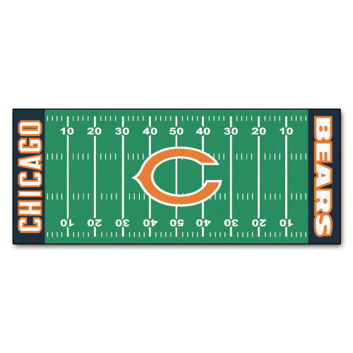 """30"""" x 72"""" Green and Black NFL Chicago Bears Football Field Area Rug Runner - IMAGE 1"""