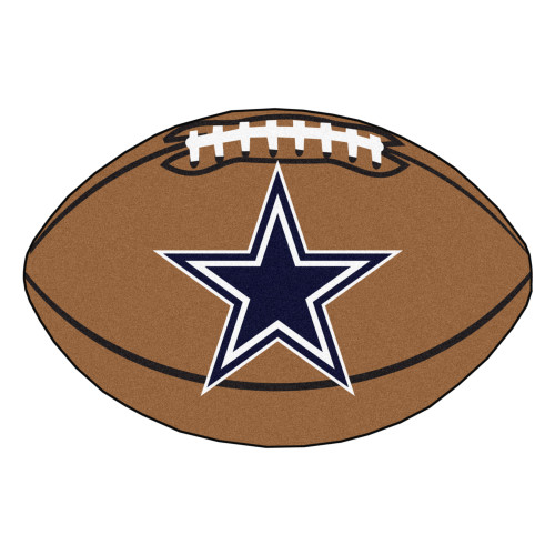 """20.5"""" x 32.5"""" Brown and Blue NFL Dallas Cowboys Football Oval Door Mat - IMAGE 1"""