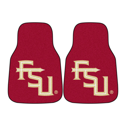 """Set of 2 Red and Beige NCAA Florida State University Seminoles Front Carpet Car Mats 17"""" x 27"""" - IMAGE 1"""
