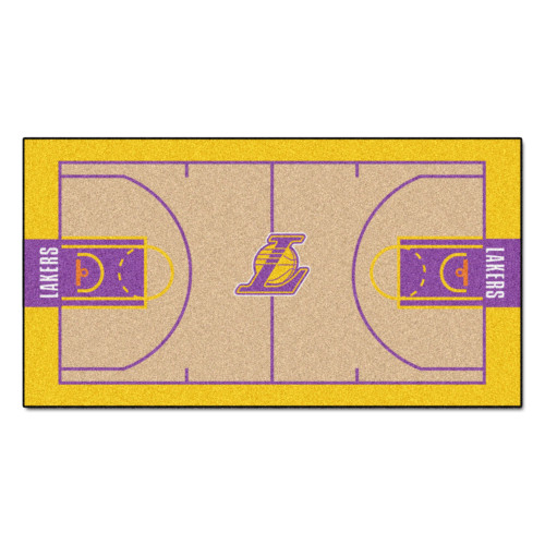 """29.5"""" x 54"""" Yellow and Beige NBA Los Angeles Lakers Court Large Mat Area Rug Runner - IMAGE 1"""