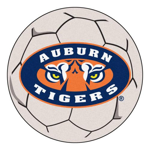 "27"" Gray and Orange NCAA Auburn University Tigers Soccer Ball Door Mat - IMAGE 1"
