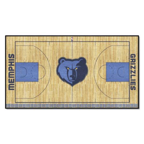 "24"" x 44"" Beige and Blue NBA Memphis Grizzlies Court Rug Runner - IMAGE 1"