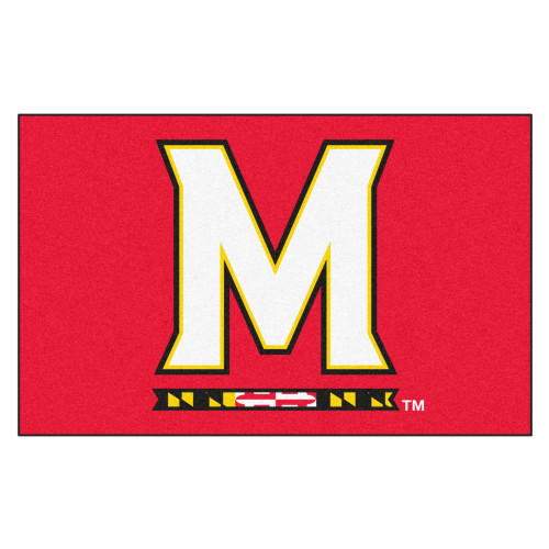 """59.5"""" x 94.5"""" Red and White NCAA University of Maryland Terps Ulti-Mat Outdoor Area Rug - IMAGE 1"""