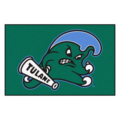 "59.5"" x 94.5"" Green and Blue NCAA Tulane University Wave Ulti-Mat Rectangular Area Rug - IMAGE 1"