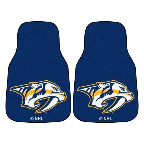 "Set of 2 Blue and White NHL Nashville Predators Front Carpet Car Mats 17"" x 27"" - IMAGE 1"