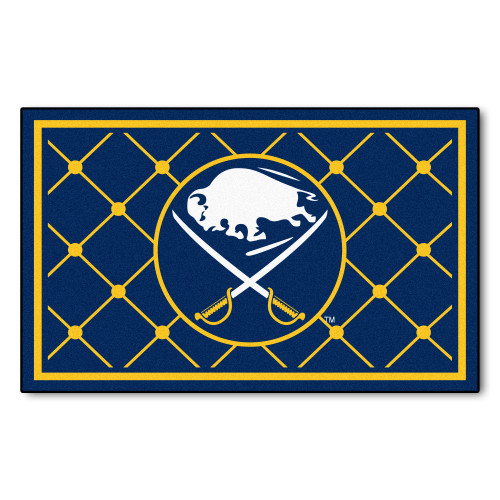 4' x 6' Navy Blue and Yellow NHL Buffalo Sabres Plush Non-Skid Area Rug - IMAGE 1
