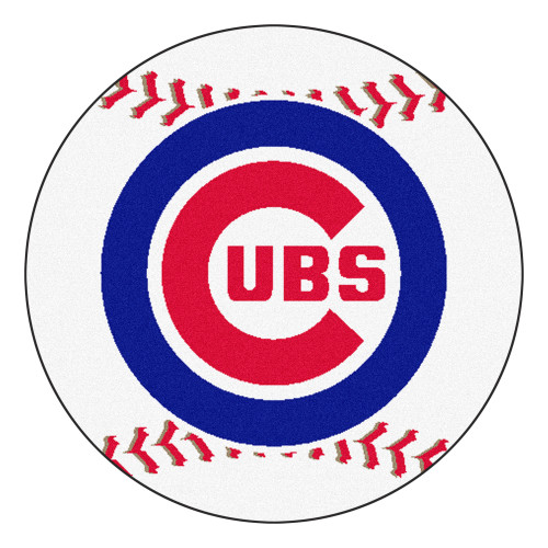 """White and Blue MLB Chicago Cubs Round Baseball Welcome Door Mat 27"""" - IMAGE 1"""