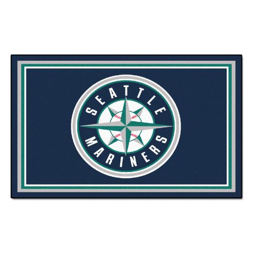 3.6' x 5.9' Blue and White MLB Seattle Mariners Plush Area Rug - IMAGE 1