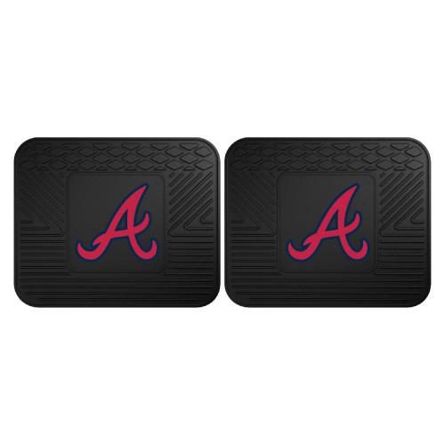 "Set of 2 Black and Red MLB Atlanta Braves Heavy Duty Rear Car Floor Mats 14"" x 17"" - IMAGE 1"