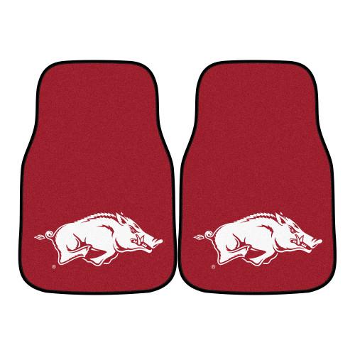 "Set of 2 Red and White NCAA University of Arkansas Razorbacks Front Carpet Car Mats 17"" x 27"" - IMAGE 1"