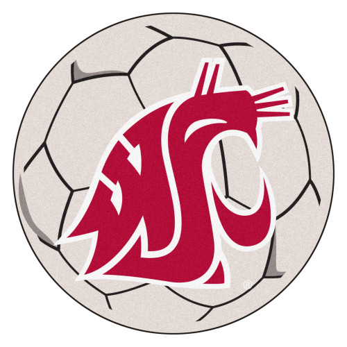 """27"""" Ivory and Red NCAA Washington State University Cougars Soccer Ball Mat - IMAGE 1"""