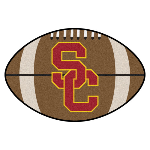 """20.5"""" x 32.5"""" Brown and Red NCAA University of Southern California Trojans Football Mat Area Rug - IMAGE 1"""