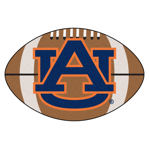 """20.5"""" x 32.5"""" Brown and Blue Contemporary NCAA Auburn University Tigers Football Area Rug - IMAGE 1"""