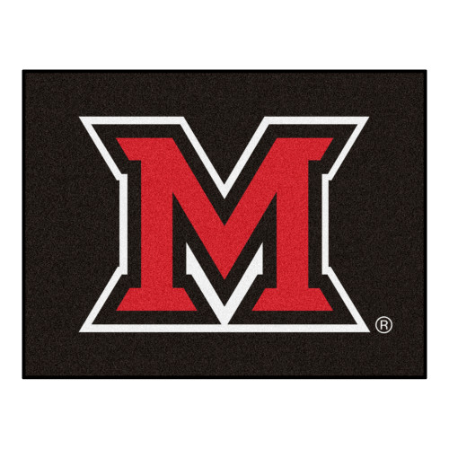 """33.75"""" x 42.5"""" Black and Red NCAA Miami University (OH) Redhawks All Star Mat Rectangular Area Rug - IMAGE 1"""